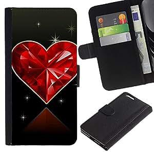 Planetar® Modelo colorido cuero carpeta tirón caso cubierta piel Holster Funda protección Para Apple (5.5 inches!!!) iPhone 6+ Plus ( Love Diamond Heart )