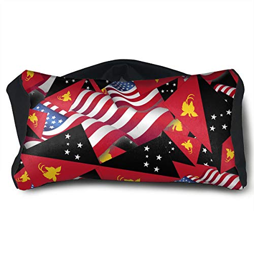 SUNNMOON Papua New Guinea Flag with America Flag Neck Travel Pillow and Eye Mask Compact Versatile and Pillow for Airplanes, Travel Pillow and Eye Mask Washable Pillows