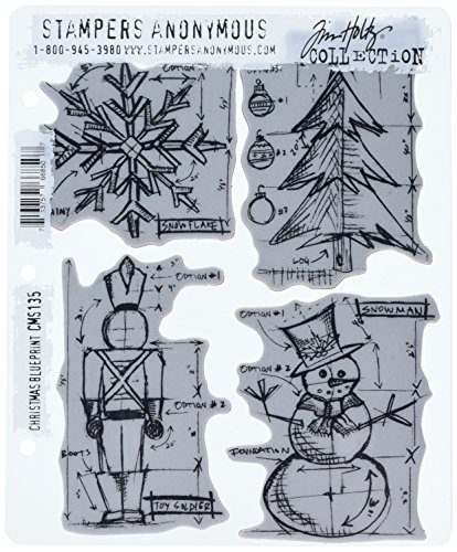 Stampers Anonymous Tim Holtz Cling Rubber Stamp Set, 7 by 8.5-Inch, Christmas Blueprint by Stampers Anonymous