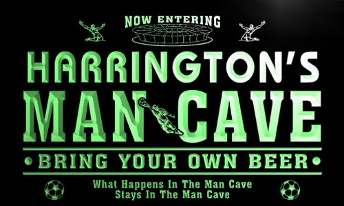 qd1478-g HARRINGTON's Man Cave Soccer Football Bar Neon Sign by AdvPro Name