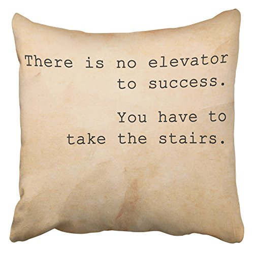 Emvency Decorative Throw Pillow Covers Cases Brown Success Inspirational Motivation Quote Unknown Source on Old Enthusiasm Life Vintage Retro 16x16 inches Pillowcases Case Cover Cushion Two Sided -