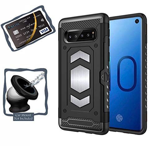 Galaxy S10 Case - Samsung Galaxy S10 Case with Card Holder Slot and Magnetic Iron Back for Car Mount - Full Body Armor Slim Heavy Duty PC and TPU Cases Cover - (Black, S10)