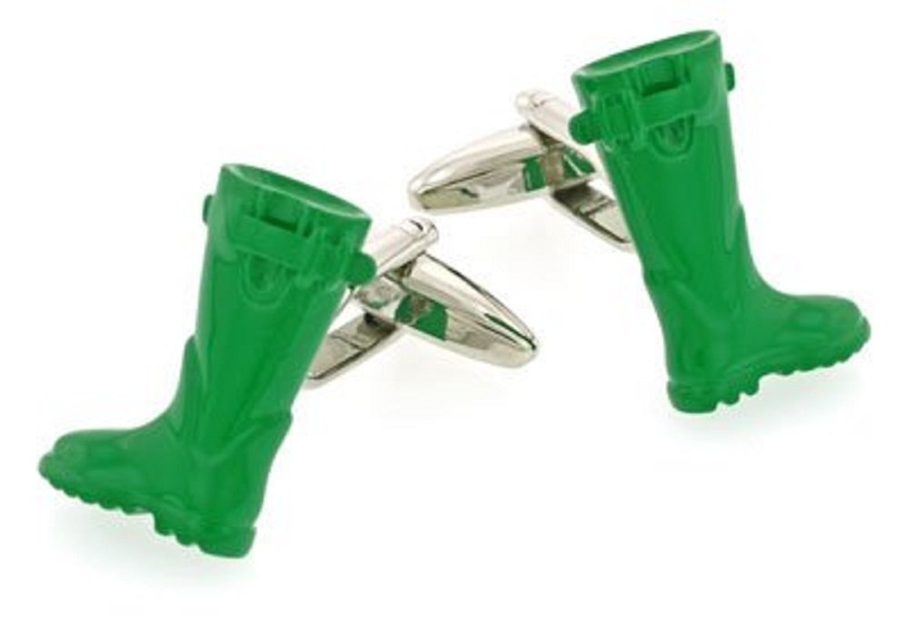 Green Wellington Boot Galoshes Cufflinks