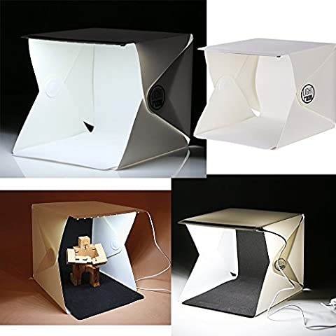 Shooting Tent, OZUZ Table Top Folding Portable Photo Studio Soft Box Table Cube with Led Light + White and Black Background Backdrops (Magnet For Mod)