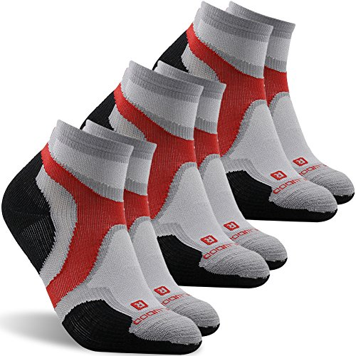 Cycling Socks, ZEAL WOOD Men And Women Athletic Quarter/Ankle Running Hiking Tennis Socks,Low Cut Antibacterial Summer Spring Wicking Socks Compression Travel Socks 3 Pairs Black Grey
