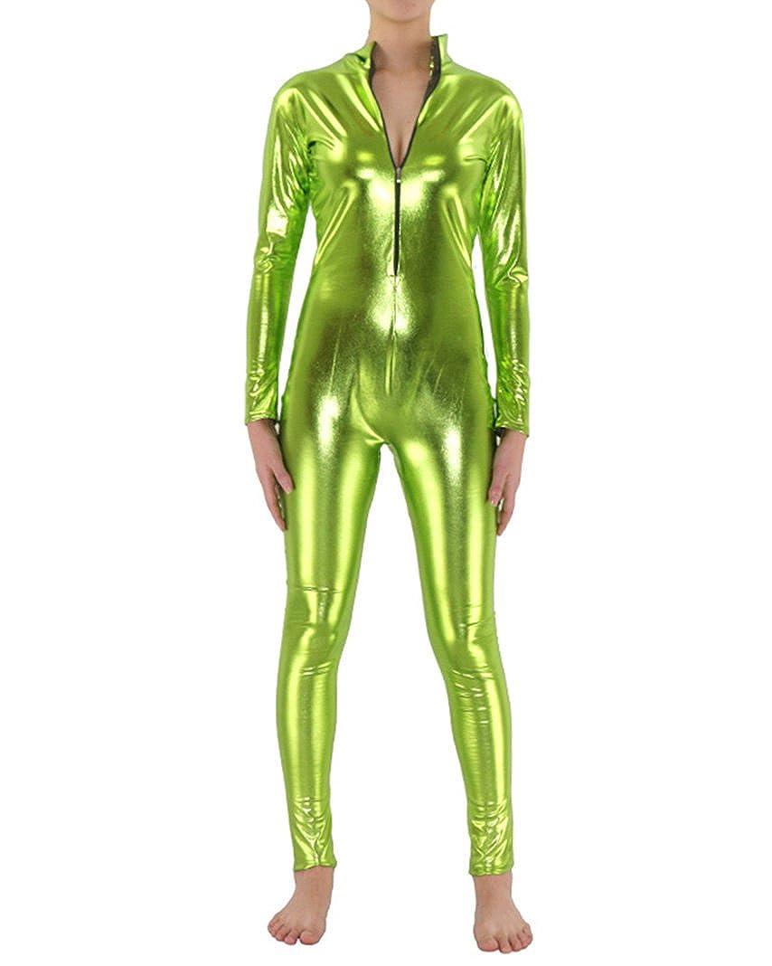 Unisexo Licra Cremallera Afloramiento De Color Brillante Zentai Suit Unitard Catsuit