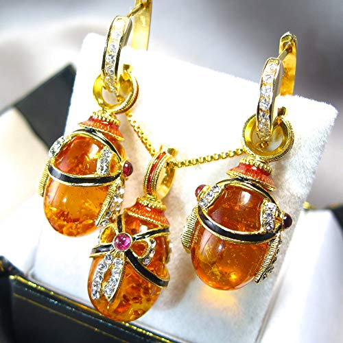 AMBER GARNET JEWELRY SET Russian Faberge Style Egg Pendant/Earrings, 925 Sterling Silver, Swarovski Crystals, Enamel, 24k Gold, Silver Hoops with CZ, Gift for Her Jewelry for Woman Girls