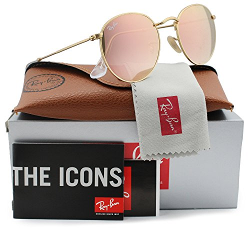 Ray-Ban RB3447 Round Metal Sunglasses Matte Gold w/Pink Mirror (112/Z2) 3447 112Z2 50mm Authentic ()