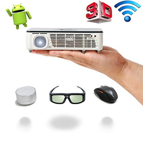 AAXA Pico/Micro Projector with LED, WXGA 1280×800 Resolution, 450 Lumens, Pocket Size, HDMI, Mini-VGA, 15,000 Hour LED Life, Media Player, DLP Projector