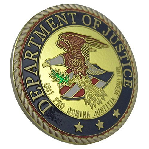 United States Department of Justice 24K gold plated Challenge coins 1053# (Justice Gold Plated)