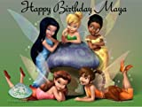 Disneys Tinkerbell and Fairy Friends Edible Image Cake Topper Frosting Sheet