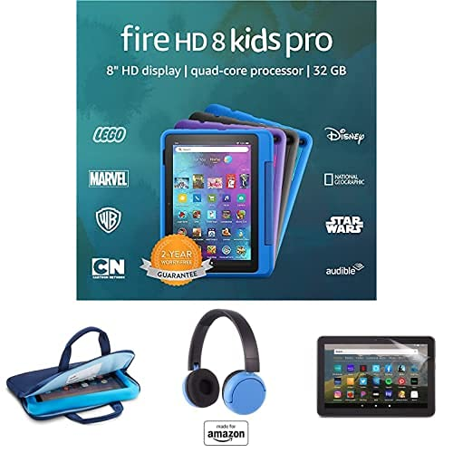 """Fire HD 8 Kids Pro tablet, 8"""" HD (Intergalactic) with Kids Headset + Sleeve + Screen Protector"""