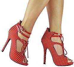 Retro Rockabilly Nautical Polka Dot Peep Toe Patent Womens Heels Red