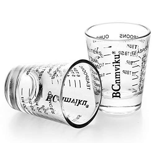 Shot Glasses Measuring Cup Espresso Measure Shot Glass 20-Incremental Measurements Multi-Purpose Liquid and Dry Measuring Shot Glass(2 Pack Black) -