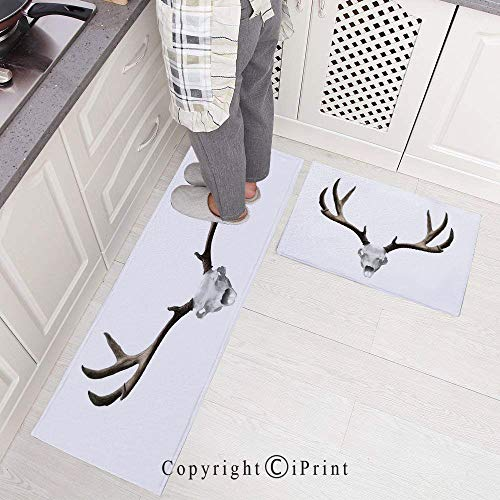 Kitchen Rugs,2 Pieces Non-Slip Flannel Kitchen Mat Rubber Backing Doormat,A Deer Skull Skeleton Head Bone Halloween Weathered Hunter Collection Decorative Runner Rug Set 15.7