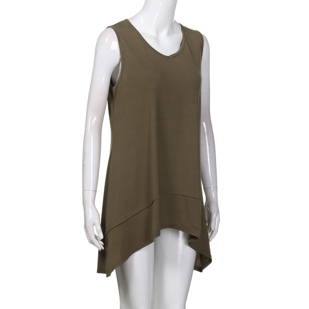 Women Sleeveless V-Neck Ladies Summer Camisole Tank Tops Double Layer Basic Casual Tunic Cami Vest Tops Blouse Jumper Sale Sweatshirts Womens Teen Girls
