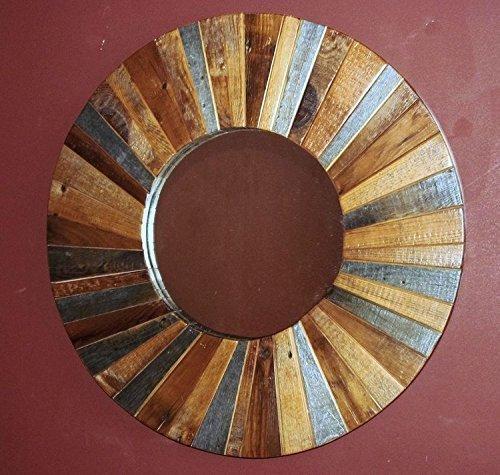 Round Barn Wood Mirror (Mirror Round Lodge)