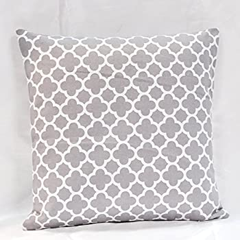 Amazon.com: TAOSON Light Grey/Gray Moroccan Quatrefoil Accent Pattern Cushion Cover Pillow Cover ...