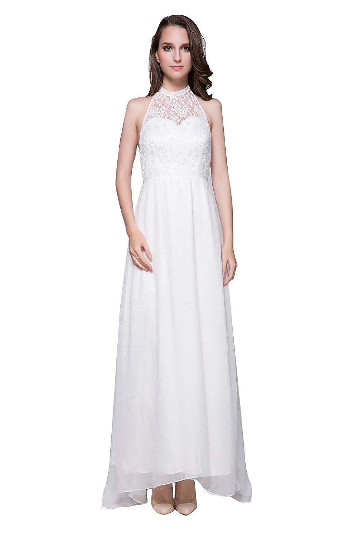 Dressesinstock Women's Halter Sleeveless Empire A-Line Long Dress