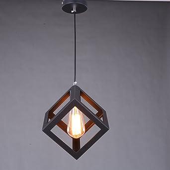 De Haute Qualite Lampe De Plafond Industrielle Cube Style, SUN RUN Luminaires Créatifs De  Cage à Lumière Rétro