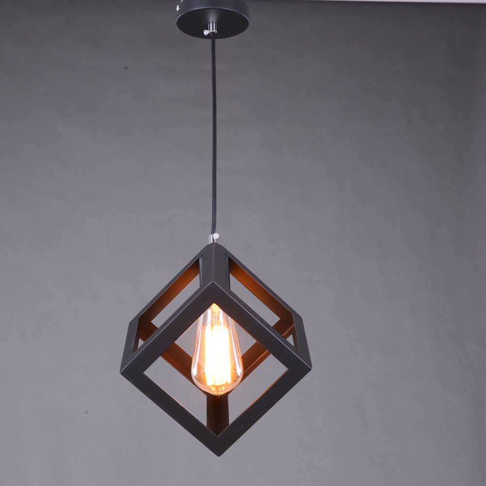 Industrial Cube Style Ceiling Light, SUN RUN Creative Retro Cage Light Fixture Chandeliers Vintage Metal Pendant Lamp with Painted Finish for Dining Room Kitchen