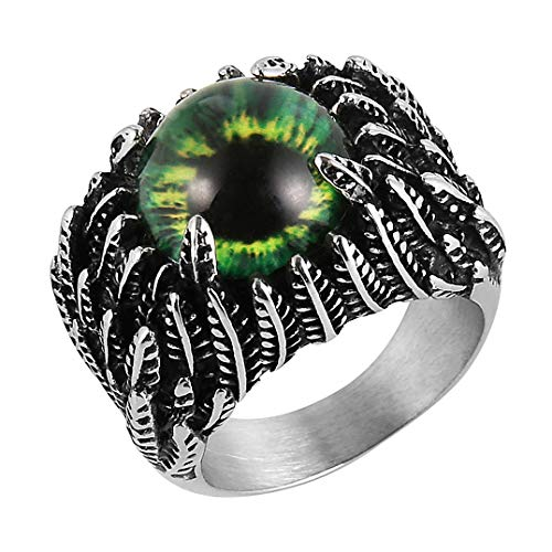 HZMAN Mne's Vintage Feather Stainless Steel Rings Blue The Devil Eye Gothic Biker Jewelry