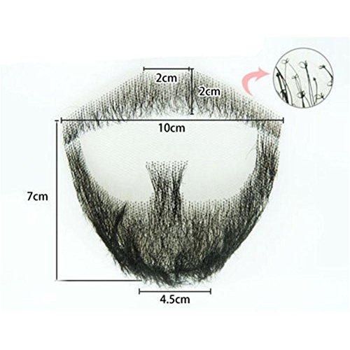 100% Human Hair Full Hand Tied Fake Mustache Beard Makeup for Entertainment/Drama/Party/Movie Prop (#5)