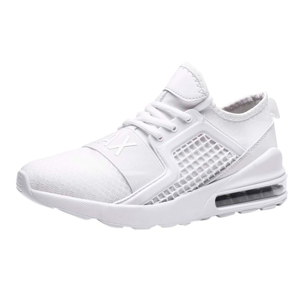 Men's Summer Sneakers Casual Mesh Breathable Running Shoes Athletic Lightweight Air Cushion Jogging Workout Gym Shoe (White, US:8.5) by Cealu (Image #1)