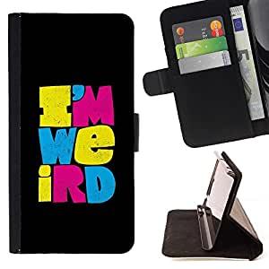 Momo Phone Case / Flip Funda de Cuero Case Cover - Weirdo texte différent Noir - LG G4c Curve H522Y (G4 MINI), NOT FOR LG G4
