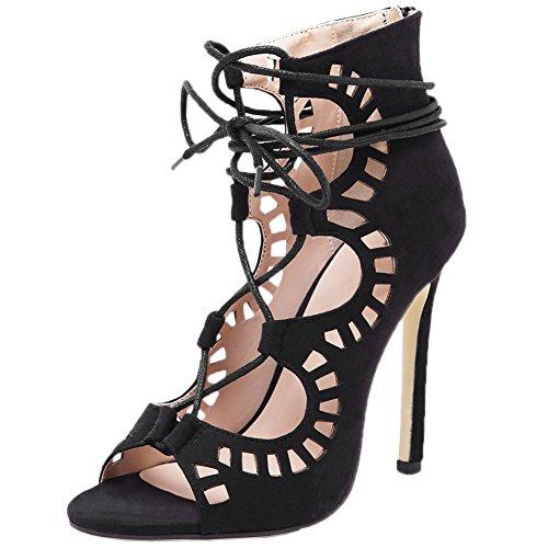 HooH Mujer Sandalias Stiletto Peep Toe Sexy Lace Up Hollow Out Gladiator Zapatos de tacón Negro