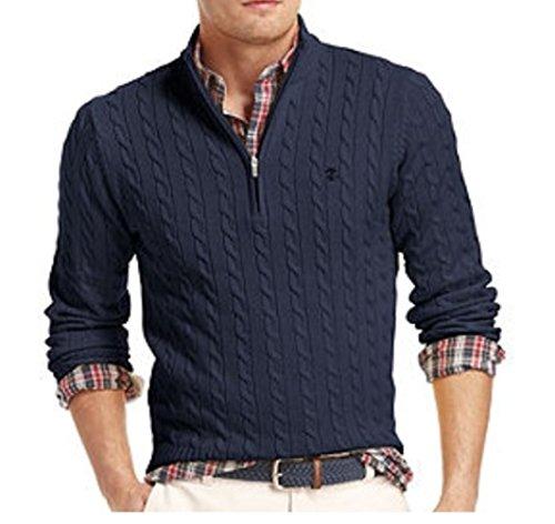 IZOD Men's Classic Fit Cable Knit 1/4-zip Cotton Sweater SZ Large (Sweater Izod Cable)