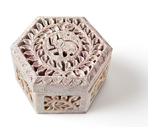 StarZebra Artisan Handmade Soapstone Jewelry Box (Hexagon) Fine Detail of Jaali Lattice Work From India