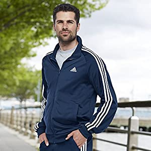 adidas Men's Essentials 3-Stripe Tricot Track Jacket, Collegiate Navy/White, XXX-Large