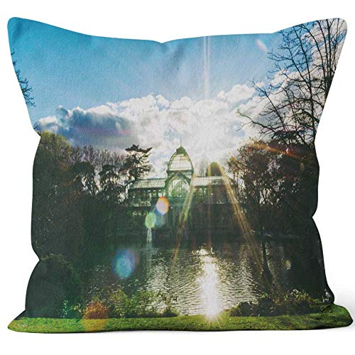 Nine City Greenhouse (or Crystal Palace) at Retiro Park Sack Burlap Pillow,HD Printing Square Pillow case