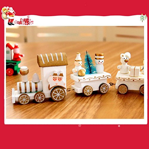 Wooden Christmas Train Ornaments Festival Party Gift Home Decoration Wooden Train Toys(White Train)