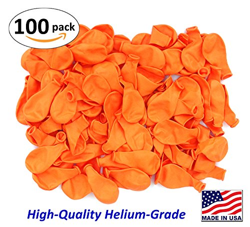 Pack of 100, Bright Orange Color Latex Balloons, MADE IN USA!