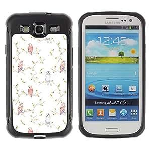 Fuerte Suave TPU GEL Caso Carcasa de Protección Funda para Samsung Galaxy S3 I9300 / Business Style Vignette Birds Wallpaper White