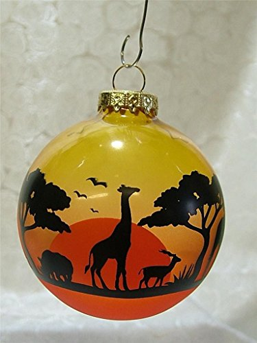 African Christmas.Glass Africa African Safari Bulb Animals Christmas Tree Ornament