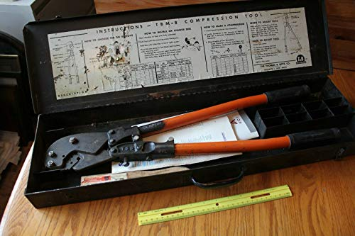 T&B USA Thomas & Betts TBM8 Compression Tool Cable Crimper with dies and case