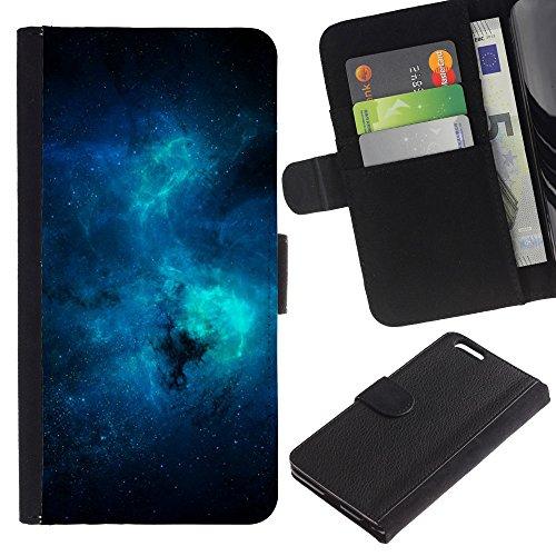 Funny Phone Case // Cuir Portefeuille Housse de protection Étui Leather Wallet Protective Case pour Apple Iphone 6 PLUS 5.5 /Galaxy Bleu/