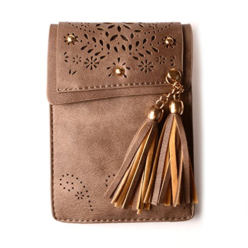 KISS GOLD(TM) Mini Crossbody Shoulder Bag, Small Cellphone Pouch, Single Shoulder Bag, PU Leather Tassel Style, Light Coffee