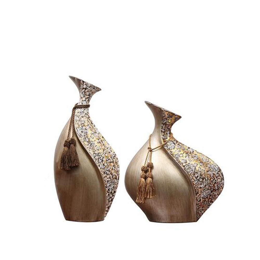 Hongyuantongxun Home Accessories, Creative Retro Small Mouth Gathers Vase Decorations, Living Room Crafts Ceramic Vase Ornaments (Color : Metallic, Size : 2248cm)