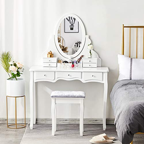 Tiptiper Makeup Vanity with 7 Drawers and 1 Removable Organizer, Vanity Table Set with 360 Rotating Oval Mirror and Bench, White