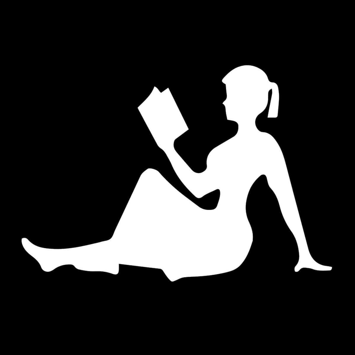 "EvolveFISH Silhouette of Girl Reading Weatherproof Vinyl Decal - [White][5""]"