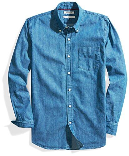 (Goodthreads Men's Standard-Fit Long-Sleeve Denim Shirt, Medium Blue XX-Large)