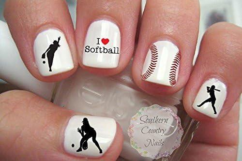 Amazon 40 Sports Softball Nail Art Designs Decals Beauty