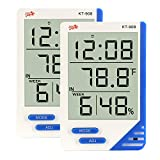 ChenYuTe Digital Hygrometer Thermometer Large Display Humidity Temperature Monitor Indoor Outdoor with Alarm Clock for Household,Kids Home,Kitchen,etc(2 Pack)