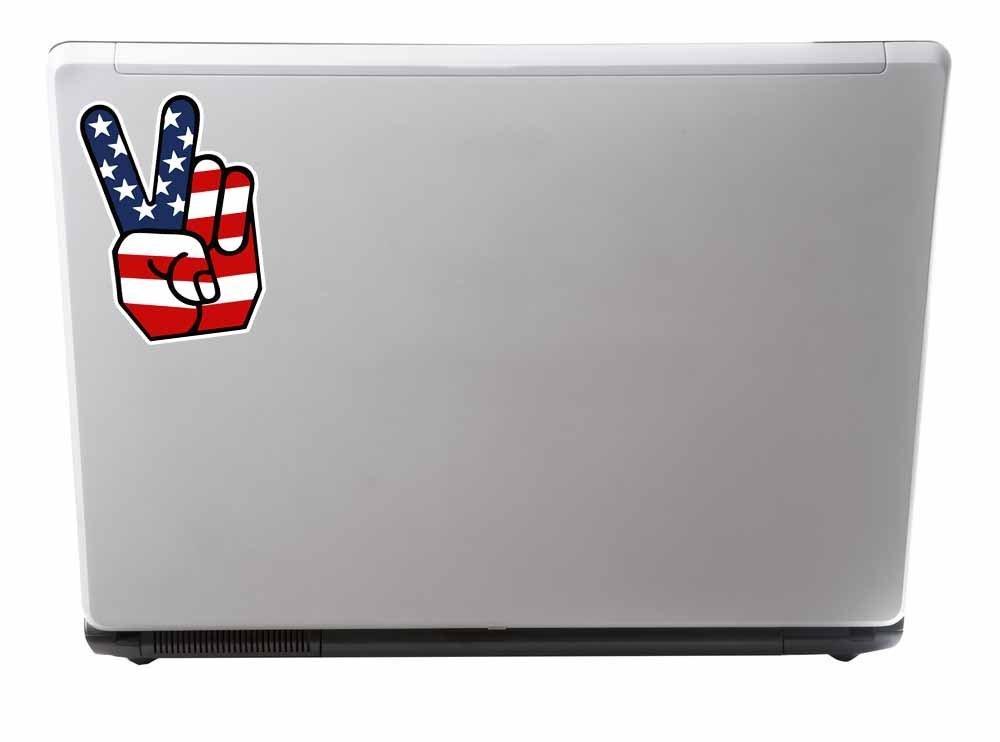 2 x American Flag Peace Hand Vinyl Sticker Car Travel Luggage #9567