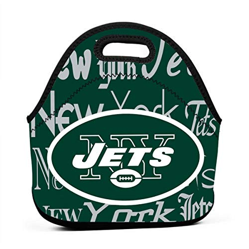 Weckim New York Jets Classic Neoprene Portable Lunch Bag, Portable Lunch Bag, Travel, Picnic, School, Work Office