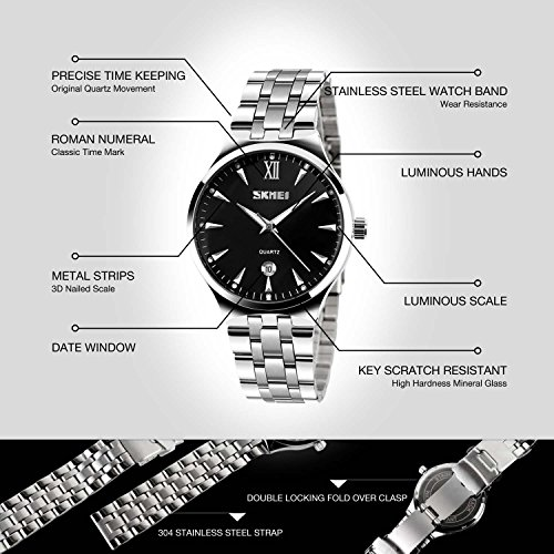 Mens Watch, Unique Quartz Analog Dress Business Casual Watches Stainless Steel Band Wrist Roman Numeral Waterproof Watch, Classic Calendar Date Window - Black by cofuo (Image #5)